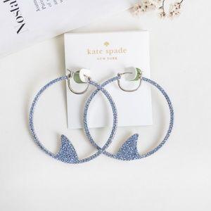 Kate Spade cali dreaming pave shark hoops earrings